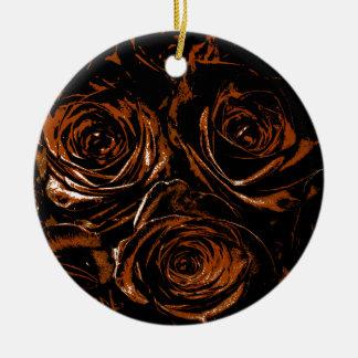 Rosas da oxidação ornamento de cerâmica redondo