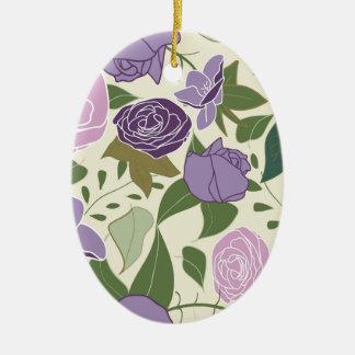 rosas da seda do lilac ornamento de cerâmica oval