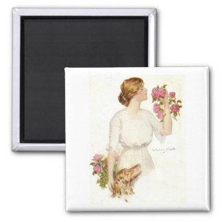Rosas da senhora w/Pink do Victorian e ímã Ímã Quadrado