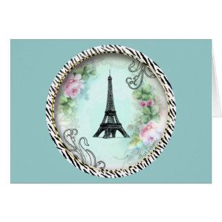 Rosas da torre Eiffel e impressão cor-de-rosa da Cartão Comemorativo