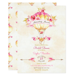 Rosas das setas do amarelo do ouro do rosa do convite 12.7 x 17.78cm