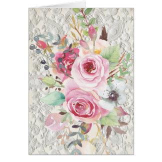 Rosas de Boho & cartão de nota chiques tribais do