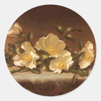 Rosas de Cheroke na luz - pano cinzento Adesivos Em Formato Redondos