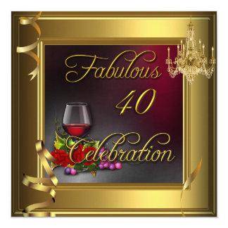 Rosas de creme do ouro vinho de 40 da celebração convite quadrado 13.35 x 13.35cm