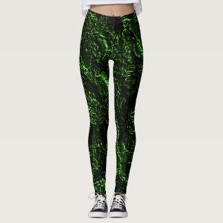 Rosas do gótico do verde de grama leggings