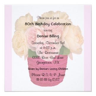 rosas do jardim do convite de aniversário do 80