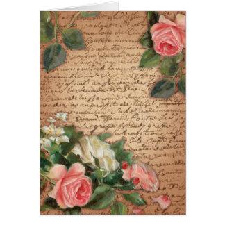 Rosas do pergaminho e do chique do vintage cartão de nota