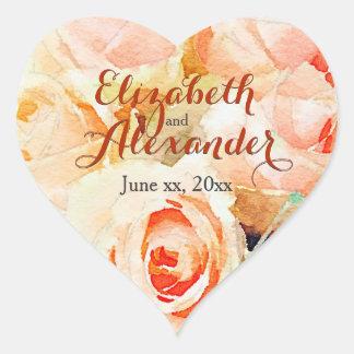 Rosas do pêssego da aguarela com nomes adesivo coração