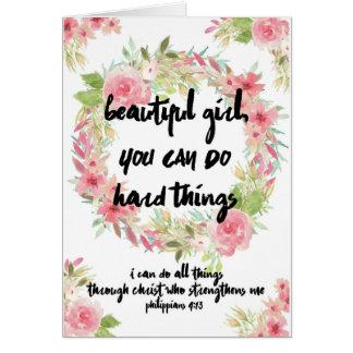 Rosas do rosa do cartão do incentivo com escritura
