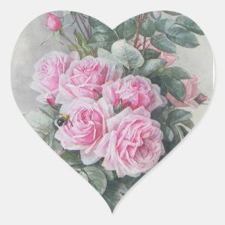 Rosas do rosa do Victorian do vintage Adesivo Coração