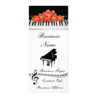 Rosas do teclado de piano e notas da música 10.16 x 22.86cm panfleto