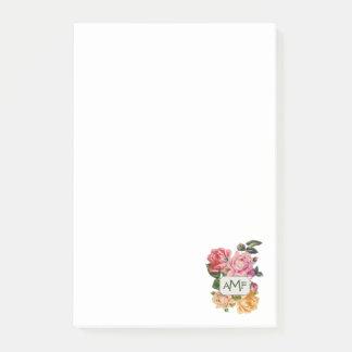 Rosas do Victorian & etiqueta Monogrammed Bloquinhos De Notas