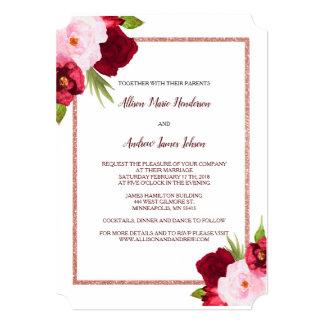 Rosas do vinho e convite do casamento da aguarela