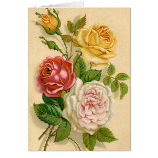Rosas do vintage, aniversário alemão cartão comemorativo