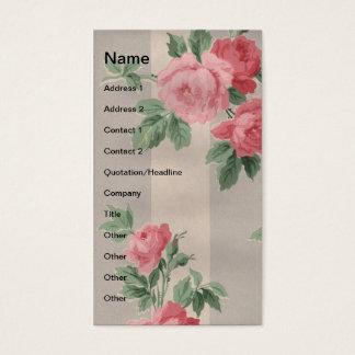 Rosas do vintage e linhas verticais cartão de visitas