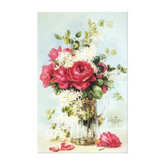 Rosas do vintage frescos do jardim impressão de canvas esticada