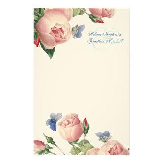 Rosas do vintage que Wedding o obrigado você Papelaria