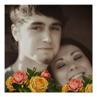 Rosas do vintage seu poster do casamento da foto pôster