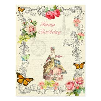 Rosas do wirh do cartão do aniversário da forma do