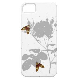Rosas e borboleta, branco e cinza capa para iPhone 5