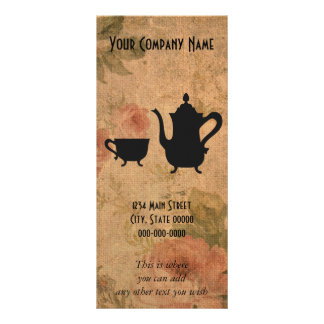 Rosas e chá do vintage 10.16 x 22.86cm panfleto