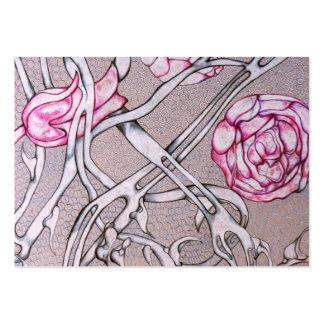 Rosas e espinhos cor-de-rosa modelo cartoes de visitas