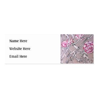 Rosas e espinhos cor-de-rosa cartões de visita
