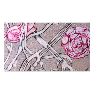 Rosas e espinhos cor-de-rosa modelo cartões de visita