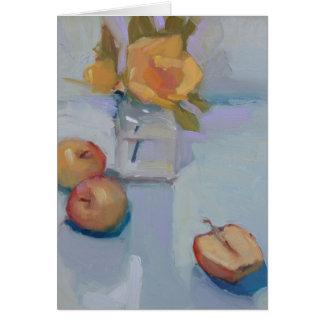 Rosas e maçãs - ainda cartão da pintura a óleo da