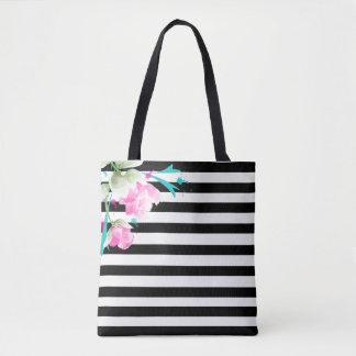 Rosas e o bolsa românticos das listras