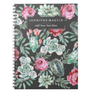 Rosas e teste padrão cor-de-rosa do cacto do cadernos