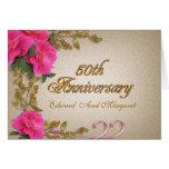 rosas elegantes do 50th cartão do convite do anive