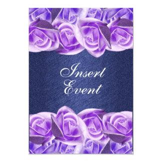 Rosas elegantes do casamento azul roxo convite 12.7 x 17.78cm