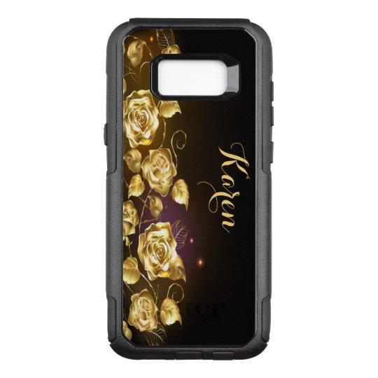 Rosas elegantes do ouro em preto e no roxo capa OtterBox commuter para samsung galaxy s8+