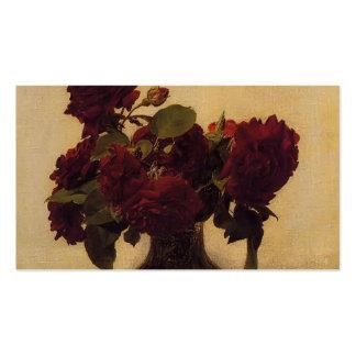 Rosas Fantin-Latour-Escuros de Henri no fundo clar Cartão De Visita