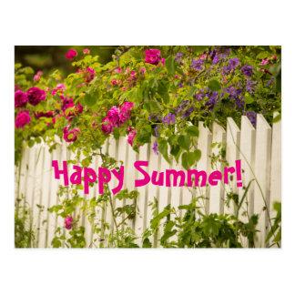 Rosas felizes do rosa do verão em uma cerca branca cartão postal