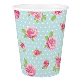 Rosas florais do chique do copo de papel do