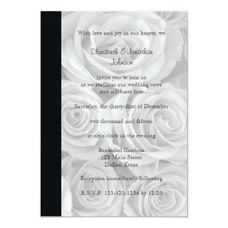 Rosas lindos da renovação do voto de casamento convite 12.7 x 17.78cm