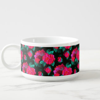 Rosas manchados água tigela de sopa