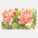 Rosas na flor adesivo retangular