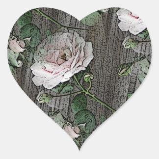 Rosas na madeira resistida adesivo coração