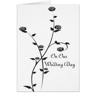 Rosas preto e branco em nosso cartão do dia do