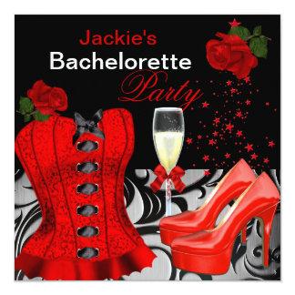 Rosas pretos vermelhos do espartilho da festa de convites personalizado