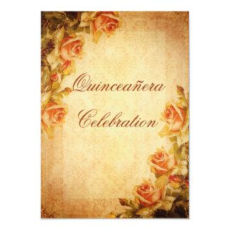 Rosas Quinceañera do pêssego do chique do damasco Convites Personalizados