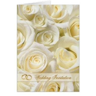 Rosas românticos do branco-creme que Wedding o Cartão Comemorativo