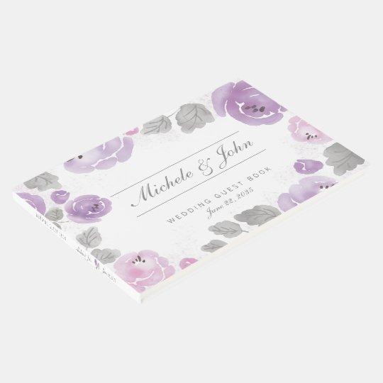 Rosas roxos da aguarela do Lilac que Wedding o Livro De Visitas