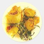 Rosas secos adesivos em formato redondos