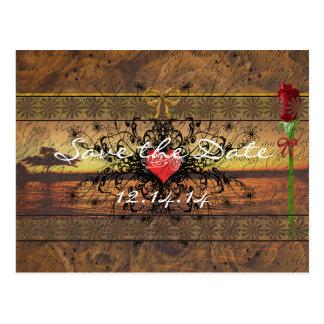 Rosas velhos do tempo do Sepia sob as ondas de Cartão Postal