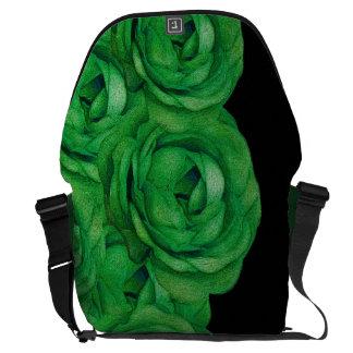 Rosas verdes fluorescentes bolsas mensageiro