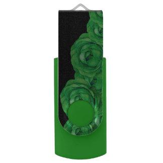Rosas verdes fluorescentes pen drive giratório